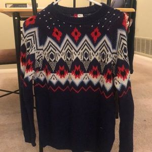 Navy blue, white, red, sweater from H&M. Worn once